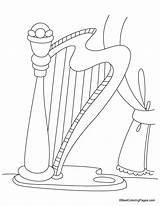 Harp Coloring Pages Kidsuki sketch template