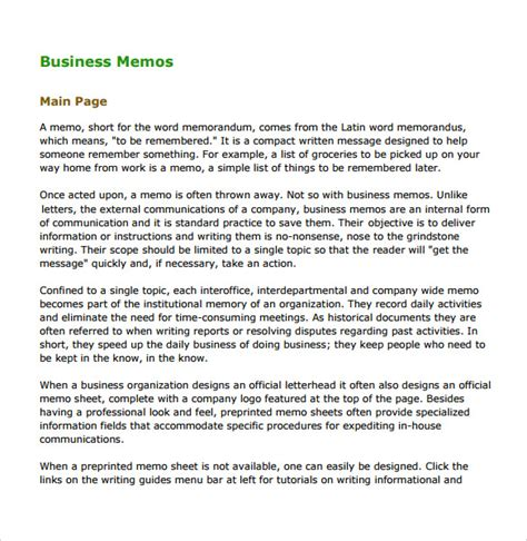what is a business memo sample business memo 5 documents in pdf word