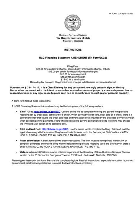 fillable ucc forms fillable tn form ucc3 ucc financing statement amendment