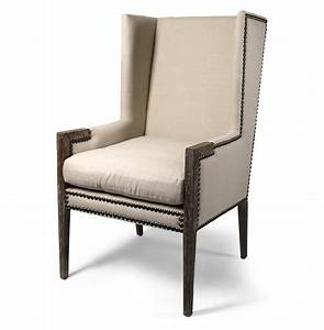 French, Modern, Angled, Linen, Nailhead, Wing, Chair