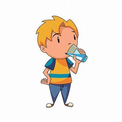 Drinking Water Boy Clipart Kid Vector Children