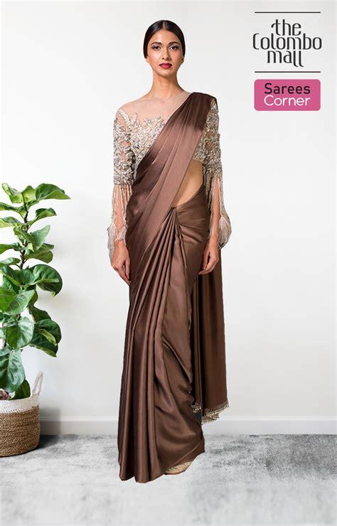 Printed poly crepe coffee brown saree. Saree online Sri Lanka | Party Wear Silk Satin Sarees | The Colombo Mall