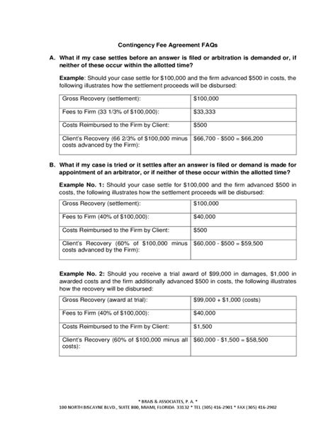 contingency fee agreement form   templates