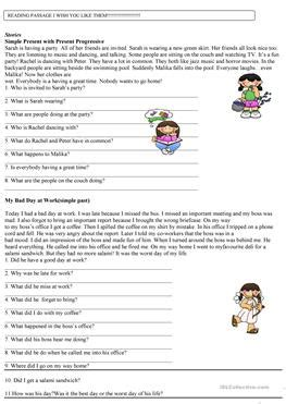 17 Free Esl Passage Worksheets
