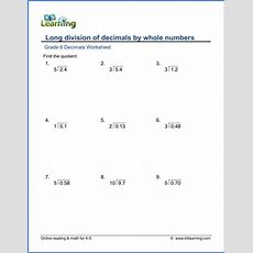 Grade 6 Math Worksheets Long Division Of Decimals By Whole Numbers  K5 Learning
