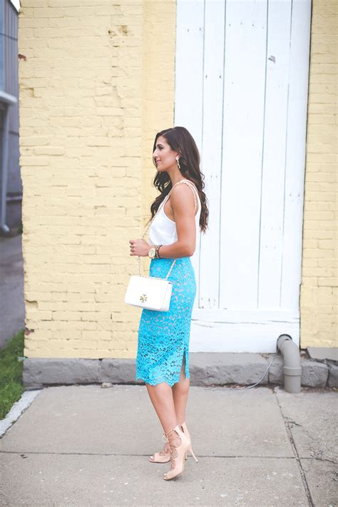 turquoise lace pencil skirt  southern drawl
