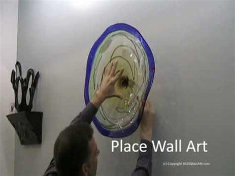 hand blown wall art glass plate install   glass