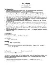 sharepoint developer resume sle nhi doan sharepoint resume