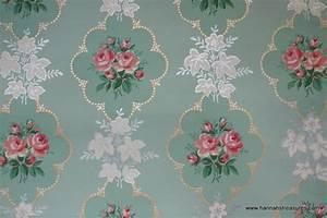 1940's Pink Rose vintage wallpaper on mint green ...