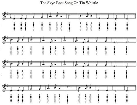 Skye Boat Song Letra Espa Ol by The Skye Boat Song Tin Whistle Sheet Music Music To My