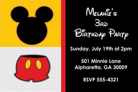 classic mouse invitation mickey mouse personalized party