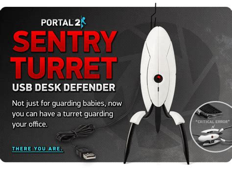 Portal 2 Sentry Turret Usb Desk Defender by Thinkgeek Join In Out