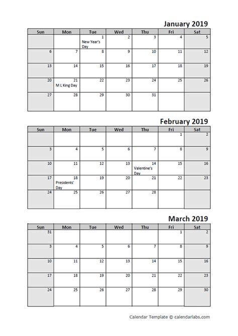 quarterly calendar printable month templates calendar