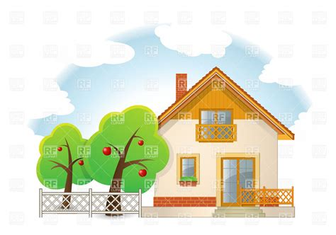 Country House With Garden Vector Image