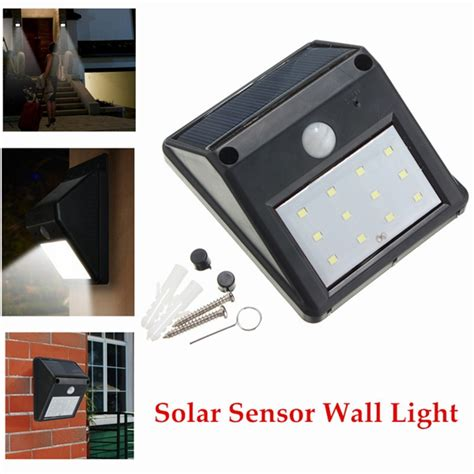 12 led solar powered pir motion sensor light outdoor
