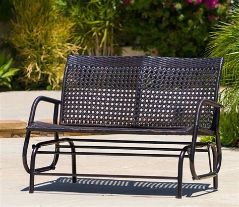 Loveseat Swing Outdoor by Outdoor Loveseat Glider Brown Wicker Patio Furniture