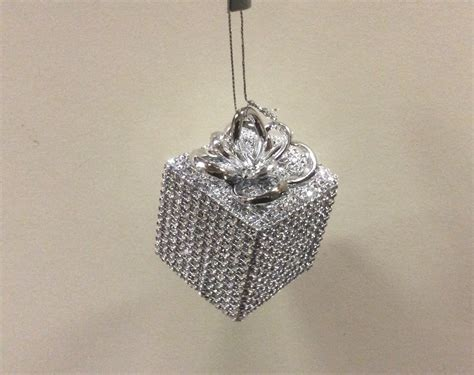 6 silver bling diamante gift box christmas tree decorations ornaments 4 quot ebay