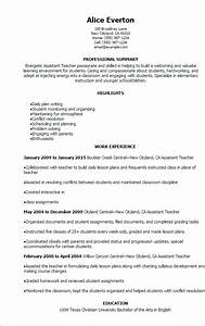 assistant teacher resume resume ideas With free teacher assistant resume template