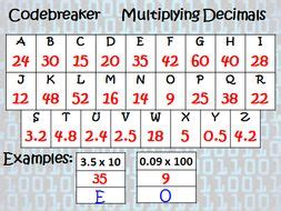 differentiated codebreaker multiplying decimals by jchowell teaching resources