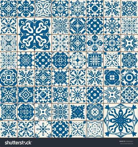 seamless tile pattern colorful lisbon mediterranean stock