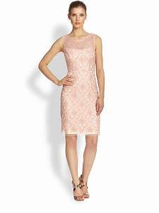 Kay Unger Sleeveless Lace Sheath Dress in Pink | Lyst