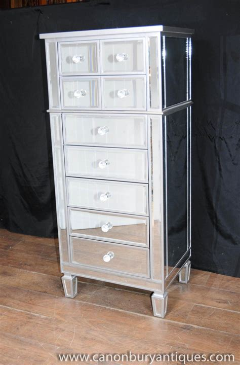 Mirrored Tall Dresser by Art Deco Mirror Chest Drawers Tall Boy Mirrored Furniture