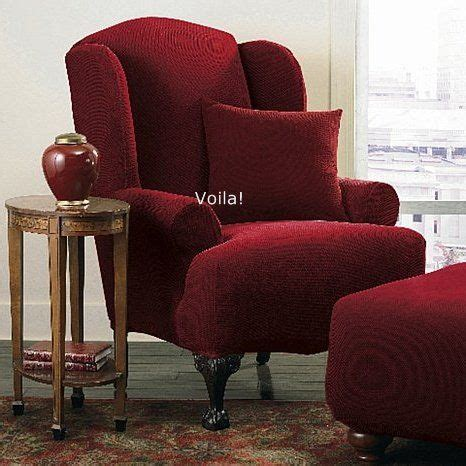 Wingback Recliner Slipcover by Wing Chair Slipcover Stretch Pique Garnet Burgundy Sure