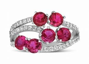 Unique 2 Carat Red Ruby And Diamond Ring For Women