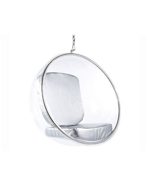 Eero Aarnio Hanging Bubble Chair with Silver Cushions