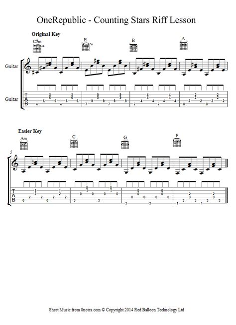 Counting stars guitar chords video