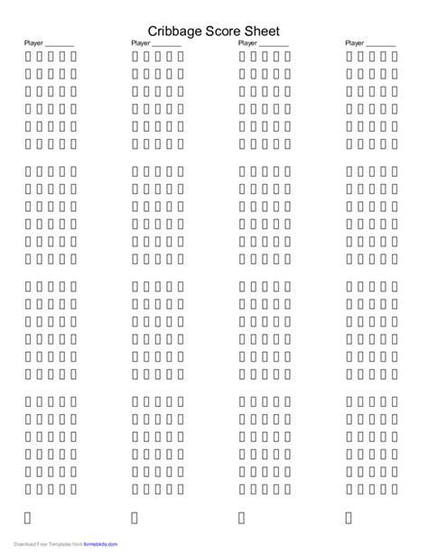 cribbage score sheet template