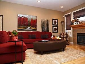 47 beautiful living rooms with ottoman coffee tables for Red and brown sectional sofa
