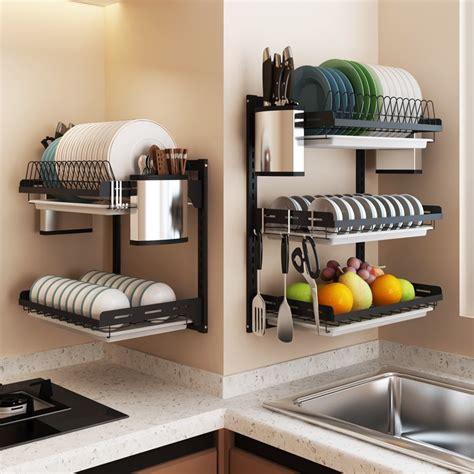 black stainless steel kitchen shelf wall mounted bowl dish rack drainage shelf  punching