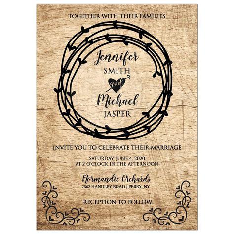 Rustic Heart Primative Western Wedding Invitation / Barn