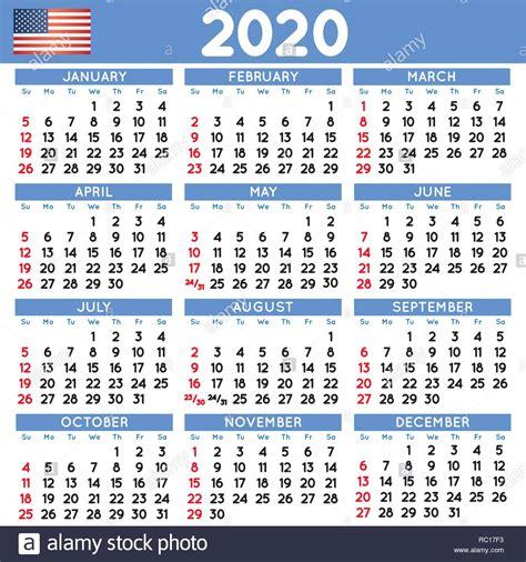 calendario cuadrado elegante ingles de estados unidos