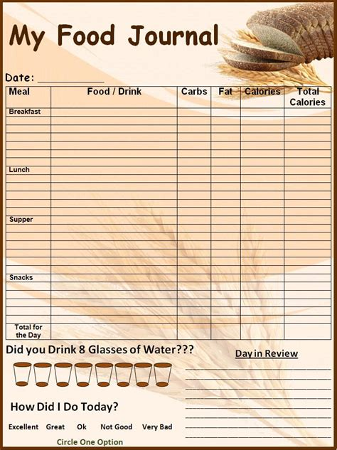 journal cuisine printable daily food log template calendar template 2016