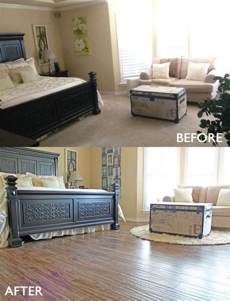 bedroom remodel before and after bedroom remodel before and after carpet to wood look tile floor bedrooms or hardwood interalle com