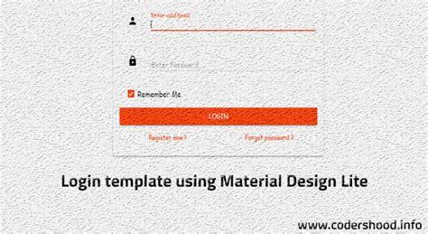 login template  material design lite mdl codershood