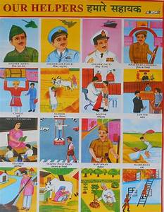 School Chart Print Of Our Helpers In Hindi And English