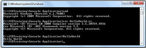 creating c console application using a text editor