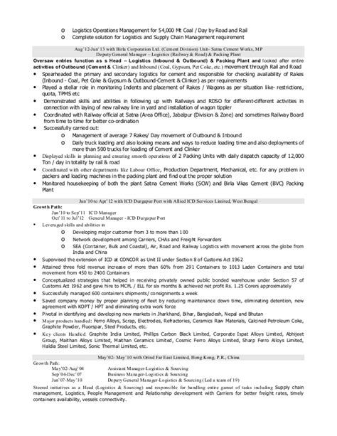 resume of procurement manager in india resume of logistics supply chain professional with 14