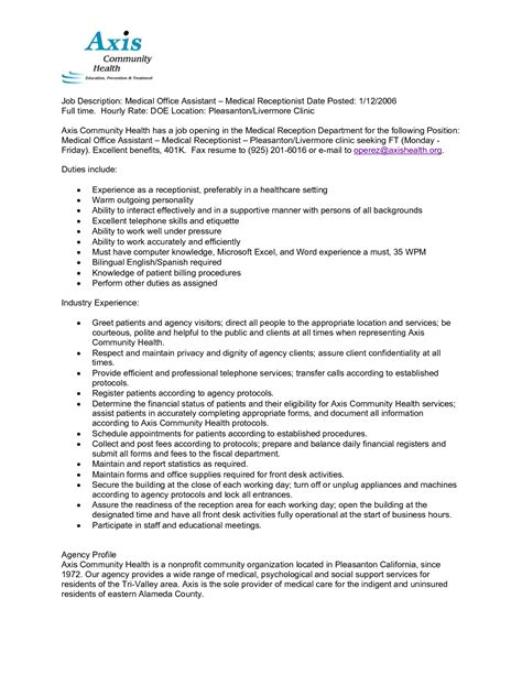 front office assistant duties for resume assistant description sle assistant receptionist resume sles