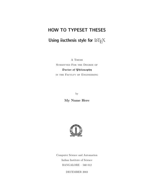 Thesis Template Indian Institute Of Science Thesis Template