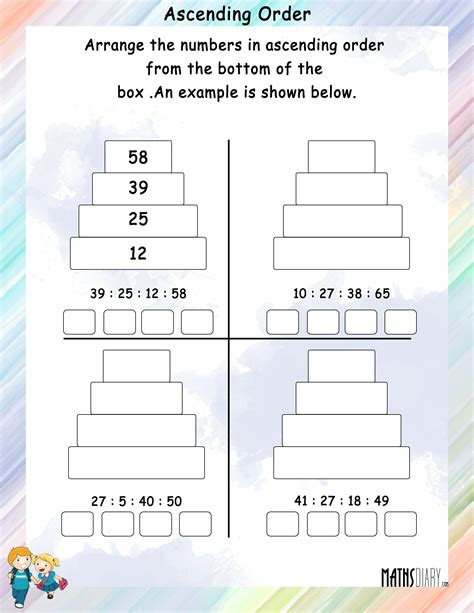 ascending descending order grade  math worksheets
