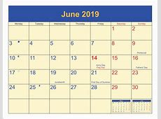 June 2019 Calendar Holiday Calendar Niche Templates