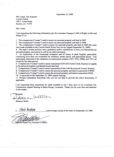 becky webbs appeal letter   louisiana tax commission