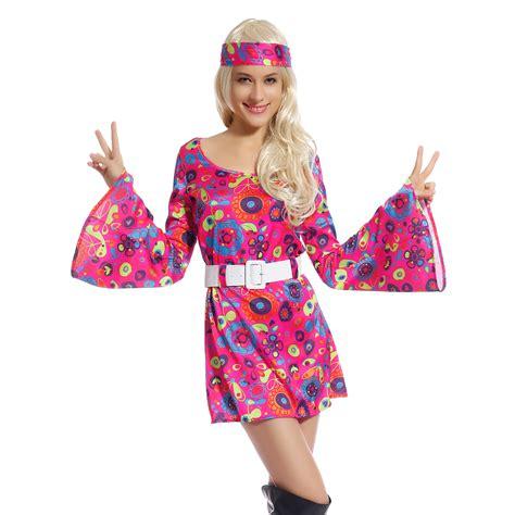 60s 70s Fancy Dress Costume Flower Power HIPPY HIPPIE RETRO GOGO PARTY | eBay