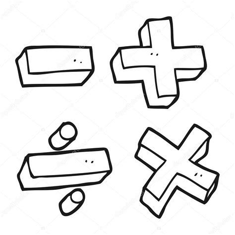 Símbolos de matemáticas dibujos animados blanco y