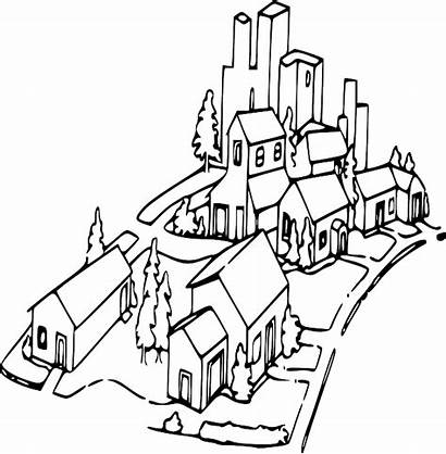 Neighborhood Clip Clipart Community Outline Drawing Map