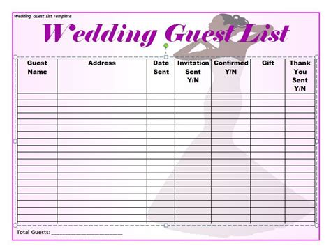guest list template 35 beautiful wedding guest list itinerary templates